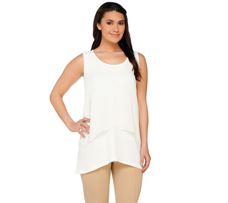Susan Graver Liquid Knit U-Neck Tank with Sheer Chiffon Overlay