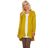 LOGO by Lori Goldstein Knit Cardigan with Rolled Chiffon Trim - A265600