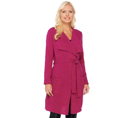 Isaac Mizrahi Live! 2-Ply Cashmere Open Front Belted Cardigan
