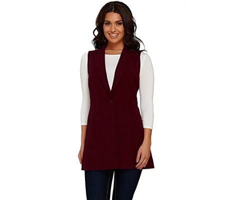 Susan Graver Stretch Crepe Button Front Vest with Notched Lapel