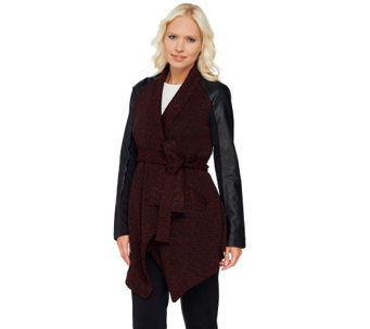 Lisa Rinna Collection Faux Leather Sleeve Wrap Jacket - A268100