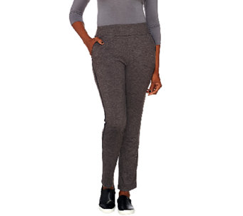 LOGO Lounge by Lori Goldstein Pull-On Pants with Faux Suede Tuxedo Stripe - A268900