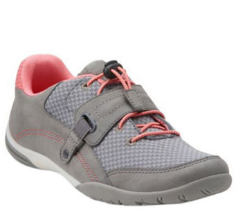 Clarks Nubuck & Mesh Bungee Sneakers - Valiee Stone - A269100