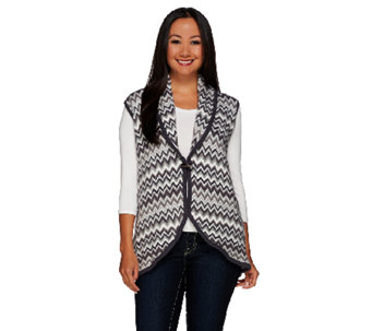 Liz Claiborne New York Drape Front Chevron Sweater Vest - A269200