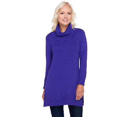 Susan Graver Rayon Nylon Long Sleeve Cowl Neck Tunic Sweater