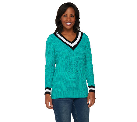 """As Is"" Susan Graver Novelty Stitch Long Sleeve V-Neck Sweater"