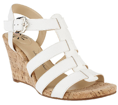 """As Is"" Isaac Mizrahi Live! Adjustable Leather Wedge Sandals"