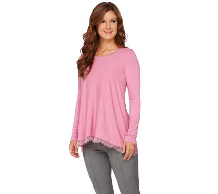 LOGO by Lori Goldstein Hi-Low Hem Knit Top with Lace