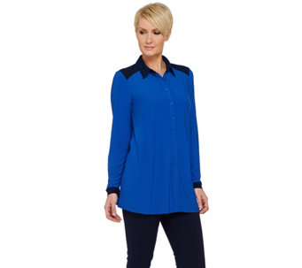 Linea by Louis Dell'Olio Moss Crepe Button Front Shirt - A273300