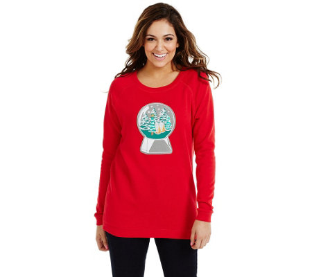 Bethany Mota Long Sleeve Snow Globe Holiday Sweatshirt