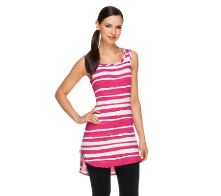 """As Is"" LOGO by Lori Goldstein Striped Knit Tank with Curved Hem"