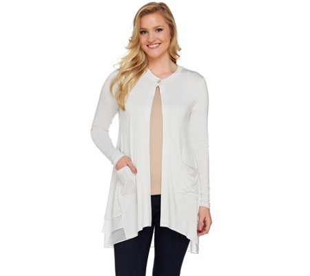 LOGO by Lori Goldstein Knit Cardigan with Chiffon and Tiered Trim