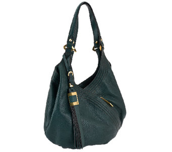 """As Is""orYANY Italian Grain Leather Hobo - Medium Tracy - A274600"