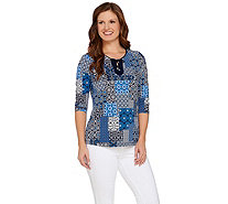 Susan Graver Printed Liquid Knit 3/4 Sleeve Top w/Lacing - A275200