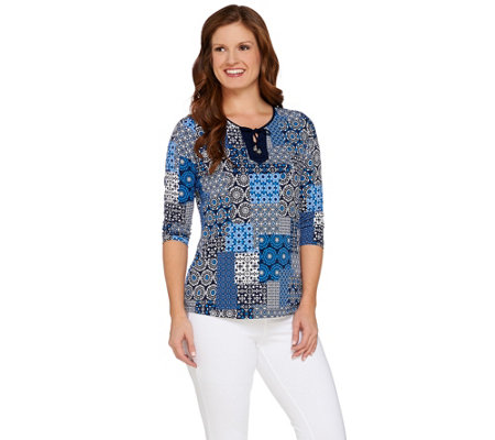 Susan Graver Printed Liquid Knit 3/4 Sleeve Top w/Lacing