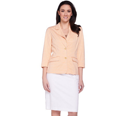 Joan Rivers Ponte Knit Striped Blazer with 3/4 Sleeves