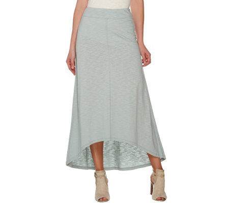 LOGO Lounge by Lori Goldstein Hi-Low Hem Slub Knit Maxi Skirt