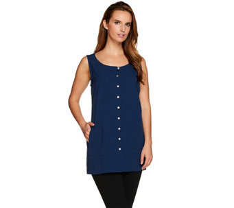 Linea by Louis Dell'Olio Sleeveless Button Front Top - A276300