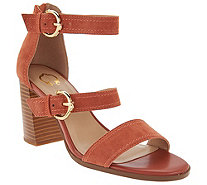C. Wonder Block Heel Suede Sandals with Buckles - Maya - A276600