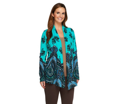 """As Is"" Isaac Mizrahi Live! Mixed Paisley Print Open Front Cardigan"