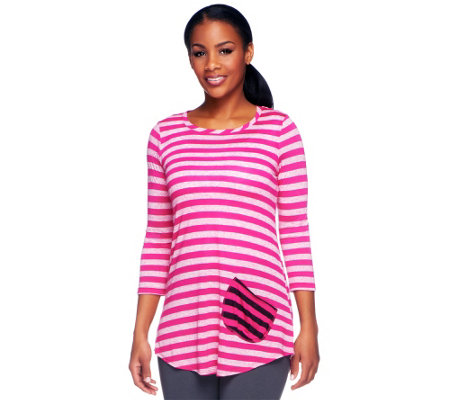 """As Is"" LOGO by Lori Goldstein Striped Knit Top with Contrast Pocket"