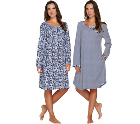 Carole Hochman Cotton Knit Floral & Stripe Sleepshirt 2-Pack
