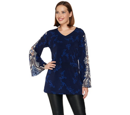 Attitudes by Renee Knit Top with Printed and Pleated Sleeves