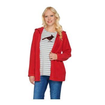 Quacker Factory Fleece Jacket and Sequin Long Sleeve T-shirt Set
