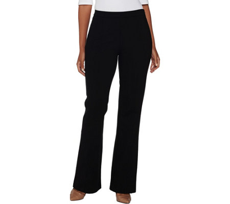 H by Halston Petite Ponte Flare Pants with Seam Detail