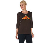 Quacker Factory Pumpkin Patch 3/4 Sleeve T-shirt - A281800
