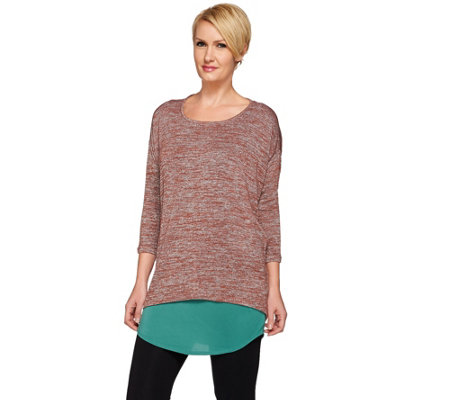 """As Is"" LOGO by Lori Goldstein Twin Set Space Dye Knit Top w/ Shirttail Tank"
