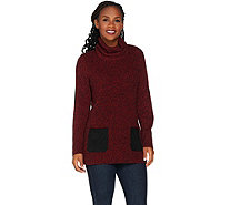 Susan Graver Cotton Acrylic Turtleneck Sweater w/ Faux Suede Pockets - A282100