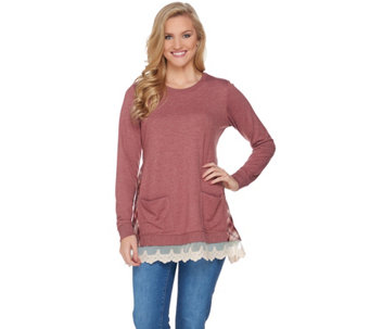 LOGO Lounge by Lori Goldstein French Terry Knit Top with Plaid Detail - A283000