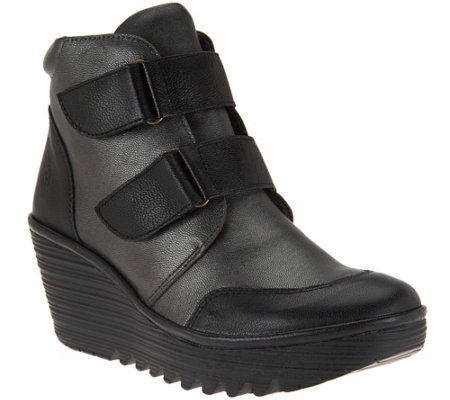 FLY London Leather Wedge Boots - Yugo