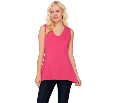 """As Is"" Kathleen Kirkwood Cotton Spandex V-Neck Swing Cami"