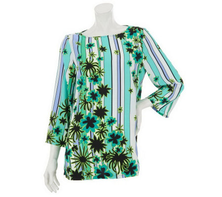 """As Is"" Bob Mackie's Scoop Neck Floral & Stripe Printed Top w/Stitch"