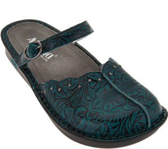 """As Is"" Alegria Leather Slip-on Mary Janes w/ Adj. Strap - Tuscany - A287400"
