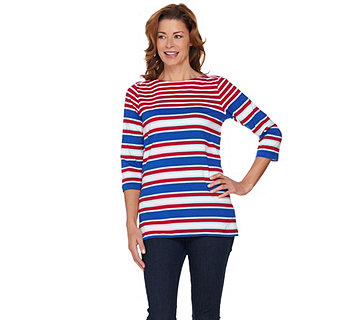 Denim & Co 3/4 Sleeve Placed Stripe Boat Neck Top - A288300