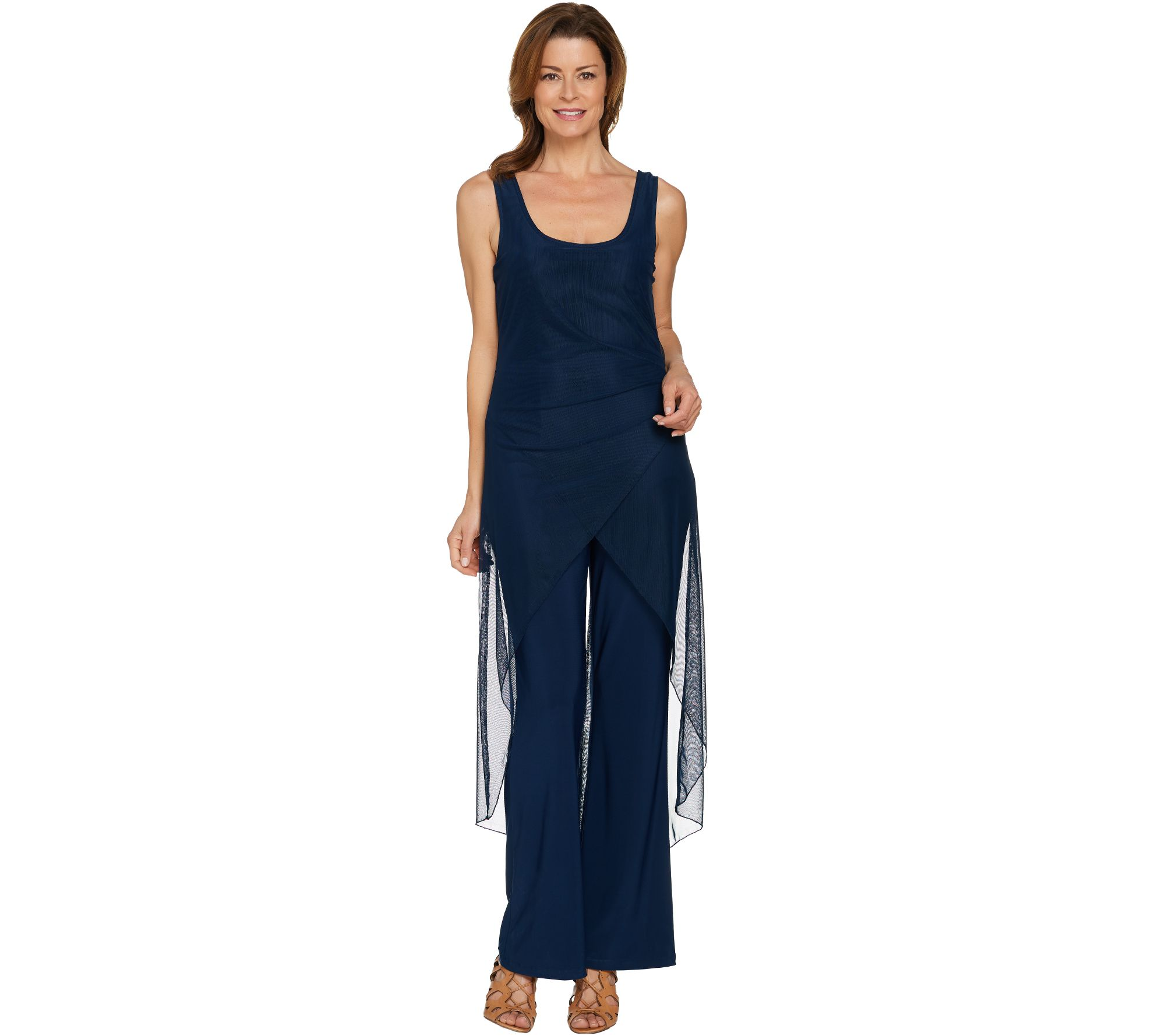 Attitudes by Renee Regular Jumpsuit with Mesh Overlay - A288800