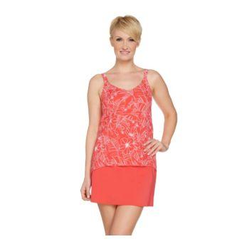 Denim & Co. Beach Hi Lo Tankini Swimsuit with Skirt