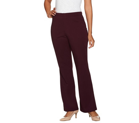 """As Is"" Susan Graver Petite Milano Knit Boot Cut Pull-On Pants"