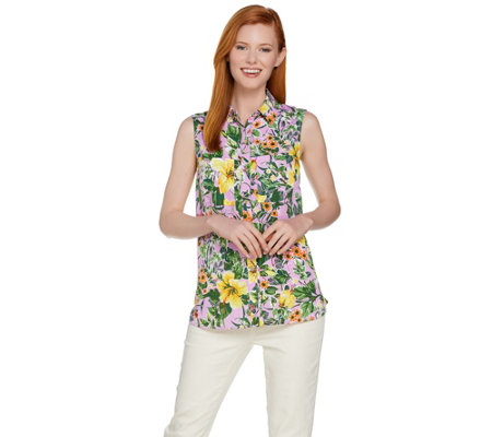 "C. Wonder Tropical Floral Print Sleeveless ""Carrie"" Blouse"