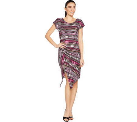 Attitudes by Renee Jacquard Dress with Ruched Detail