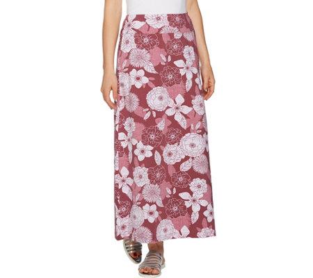 Denim & Co. Petite Floral Print Maxi Skirt - Page 1 — QVC.com