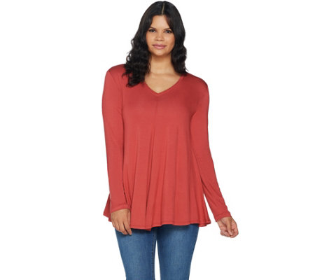 LOGO by Lori Goldstein Solid Swing Top w/ Front and Back V-Necks