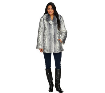 """As Is"" Dennis Basso Shawl Collar Faux Fur Coat - A293500"