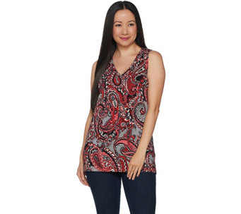 Denim & Co. Perfect Jersey Paisley Print V-Neck Tunic Tank Top - A294000