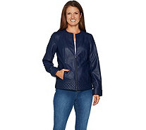 Studio by Denim & Co. Faux Leather Jacket with Quilting Detail - A296300