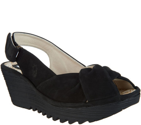 """As Is"" FLY London Leather Slingback Wedges - Yakin"