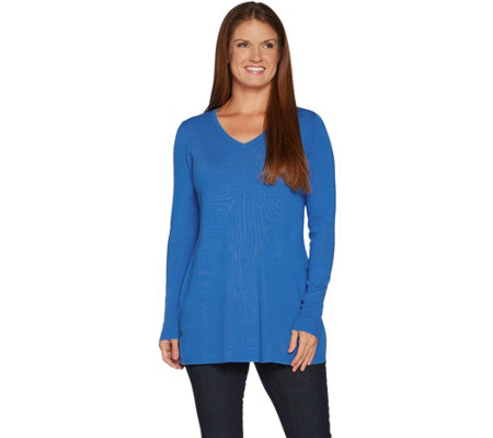 Belle by Kim Gravel Fit and Flare V-Neck Tunic Sweater